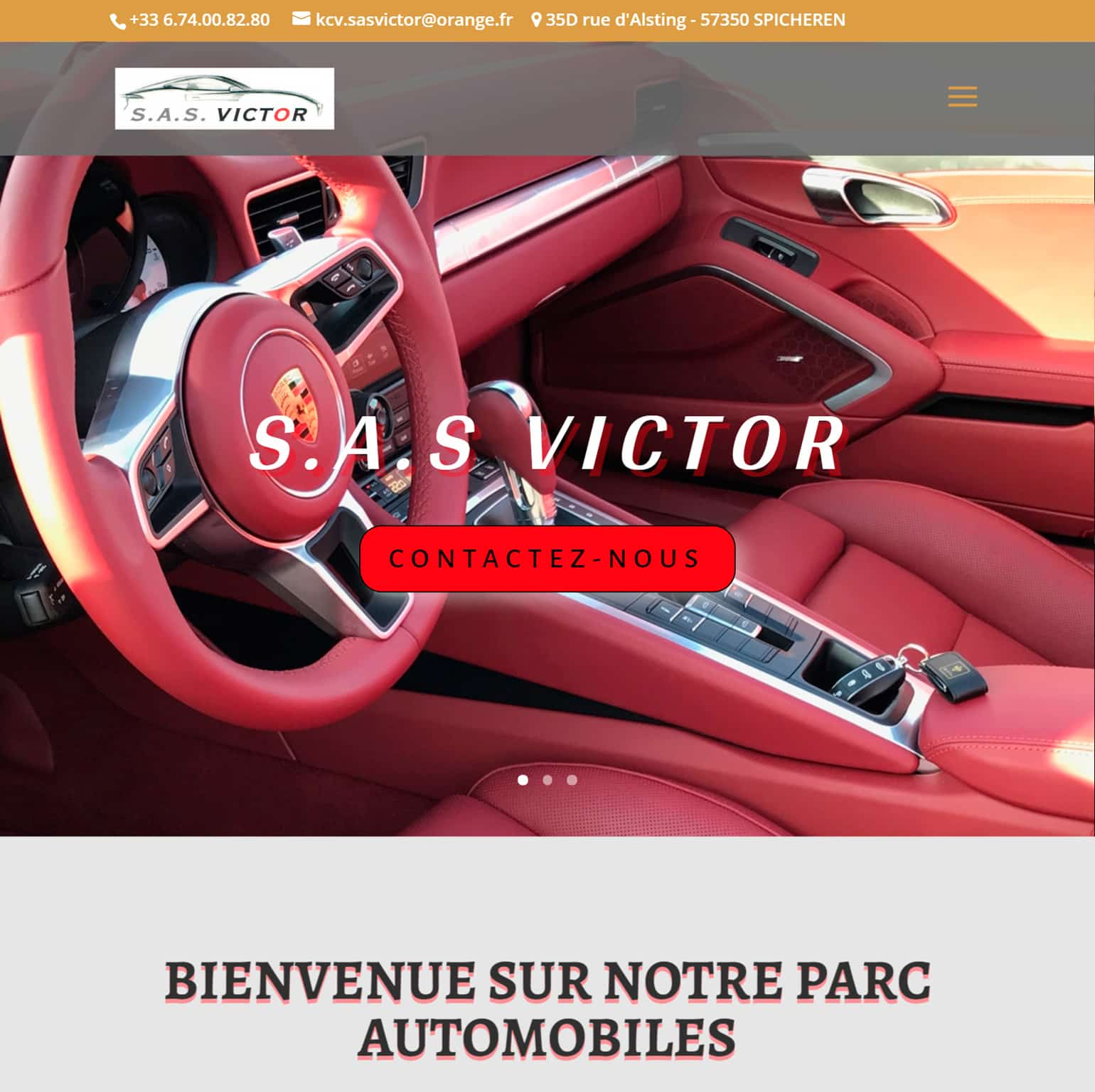 Capture écran tablette du site internet de l'entreprise SAS Victor à Spicheren